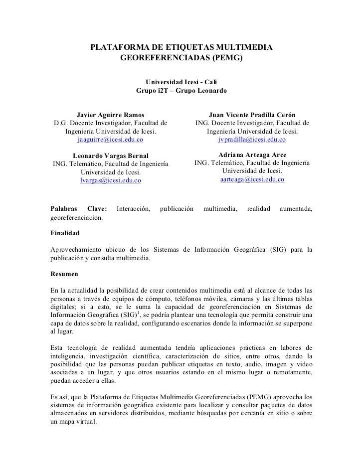 Plataforma de etiquetas multimedia georeferenciadas