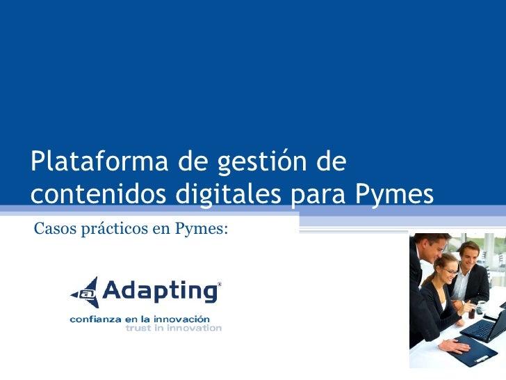 Plataforma de gestión de contenidos digitales para Pymes Casos prácticos en Pymes: