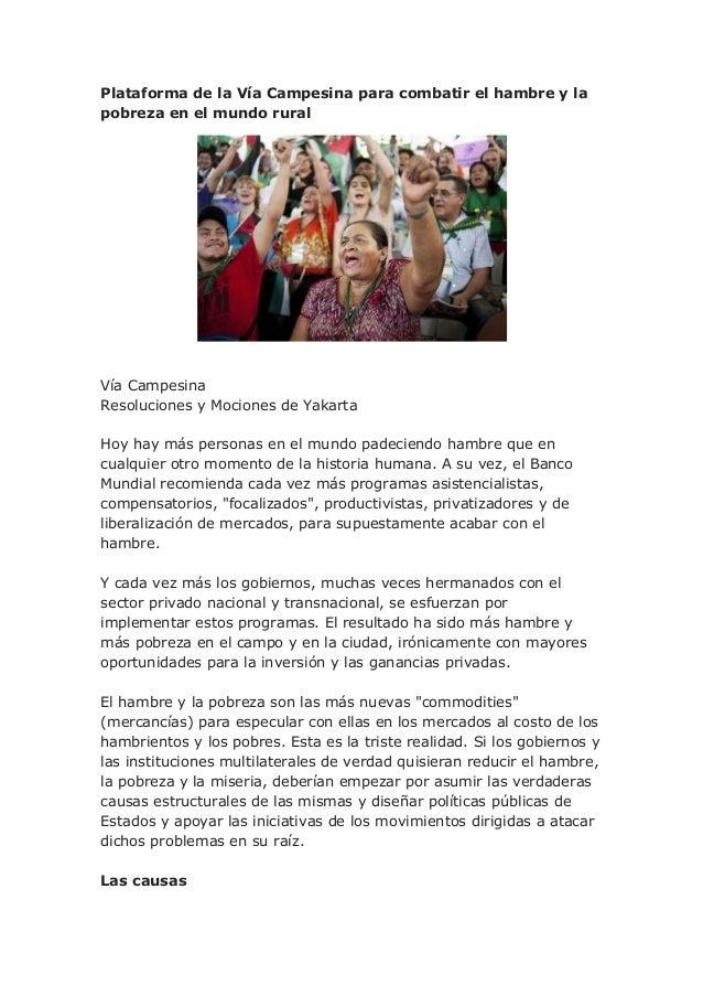 Plataforma de la Vía Campesina para combatir el hambre y la pobreza en el mundo rural
