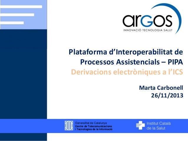 Plataforma d'Interoperabilitat de Processos Assistencials – PIPA Derivacions electròniques a l'ICS Marta Carbonell 26/11/2...
