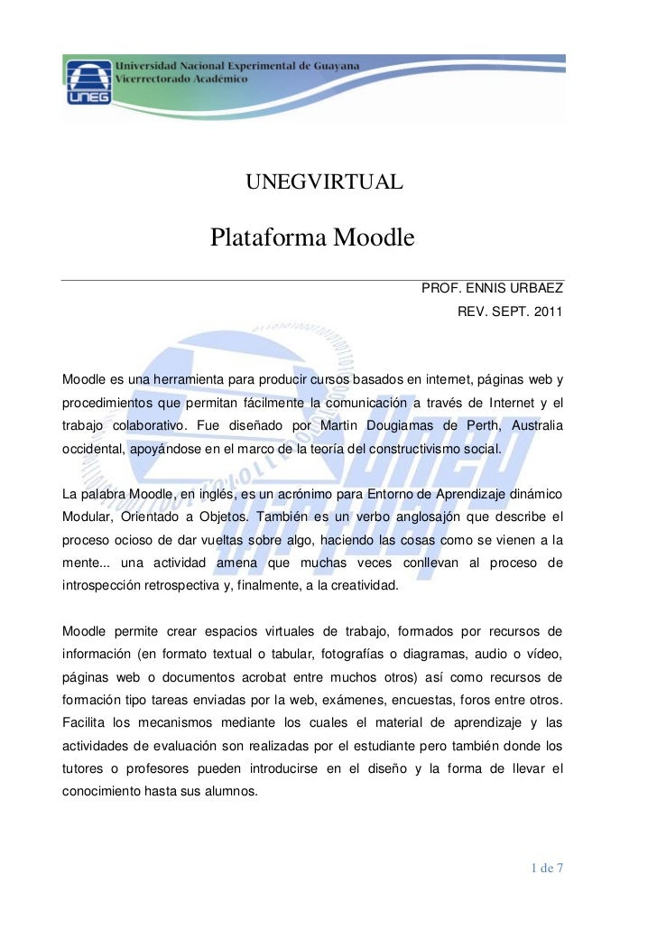 UNEGVIRTUAL                          Plataforma Moodle                                                               PROF....