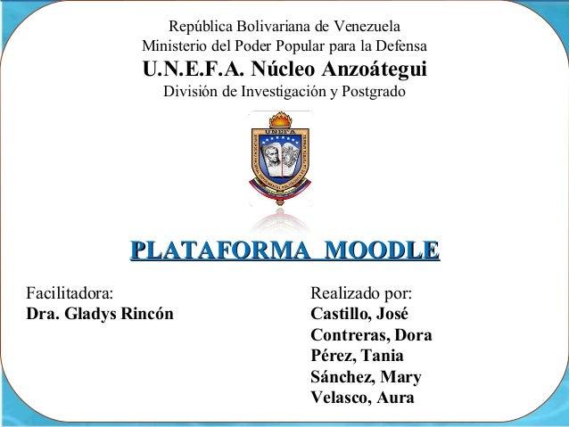 República Bolivariana de Venezuela              Ministerio del Poder Popular para la Defensa              U.N.E.F.A. Núcle...