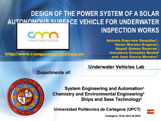 DESIGN OF THE POWER SYSTEM OF A SOLARAUTONOMOUS SURFACE VEHICLE FOR UNDERWATER                          INSPECTION WORKS  ...