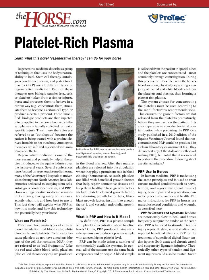 Fact Sheet                                                                     Sponsored by:Platelet-Rich PlasmaLearn what...