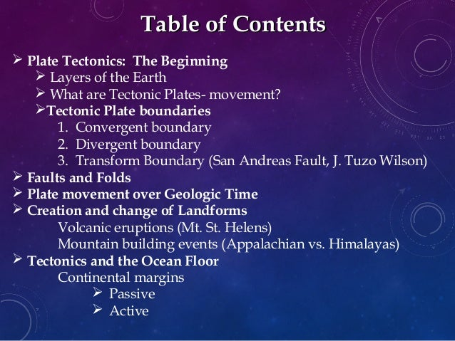 Plate Tectonics Background tectonic Plate Boundaries 1