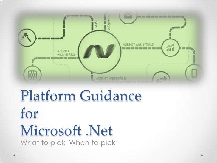 Platform guidance for Microsoft .NET Technology