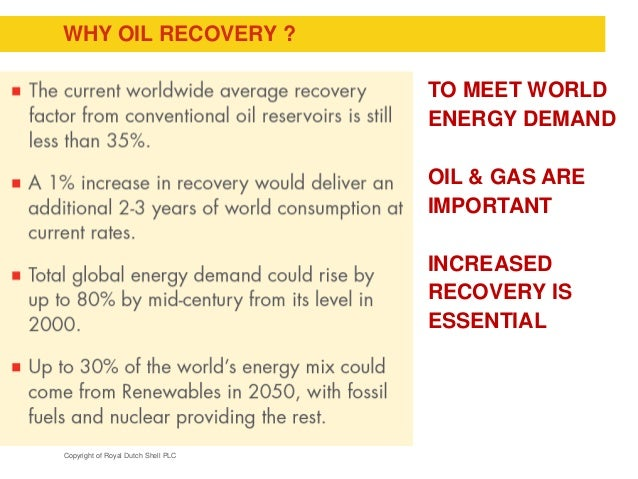 Copyright of Royal Dutch Shell PLC WHY OIL RECOVERY ? TO MEET WORLD ENERGY DEMAND OIL & GAS ARE IMPORTANT INCREASED RECOVE...