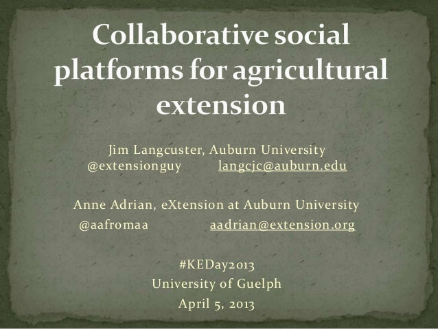 Collaborative social platforms for agriculture extension""