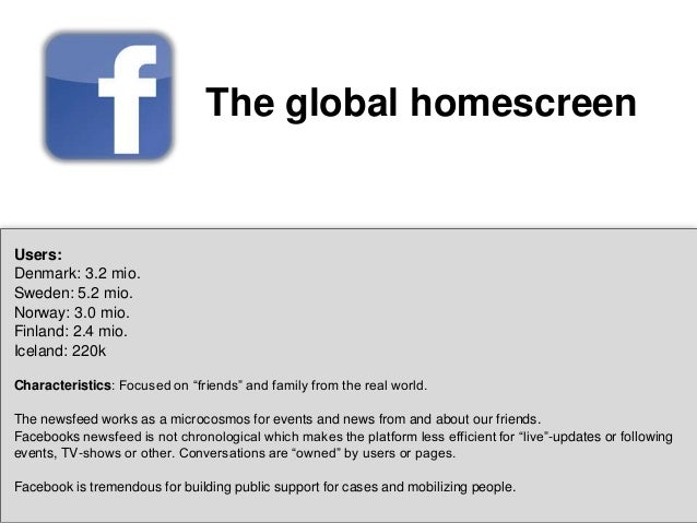 The global homescreen  Users: Denmark: 3.2 mio. Sweden: 5.2 mio. Norway: 3.0 mio. Finland: 2.4 mio. Iceland: 220k Characte...