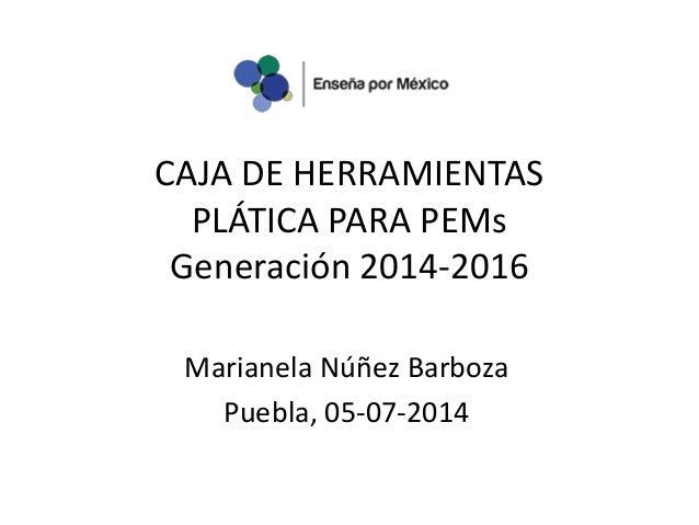 CAJA DE HERRAMIENTAS PLÁTICA PARA PEMs Generación 2014-2016 Marianela Núñez Barboza Puebla, 05-07-2014
