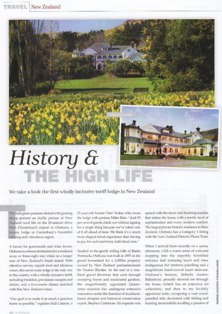Platinum Magazine December 2008 - Otahuna Luxury Lodge New Zealand
