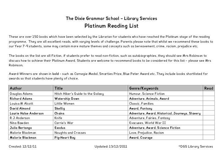 Platinum Reading List