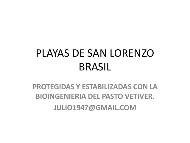 Playas de san lorenzo- Brasil con vetiver
