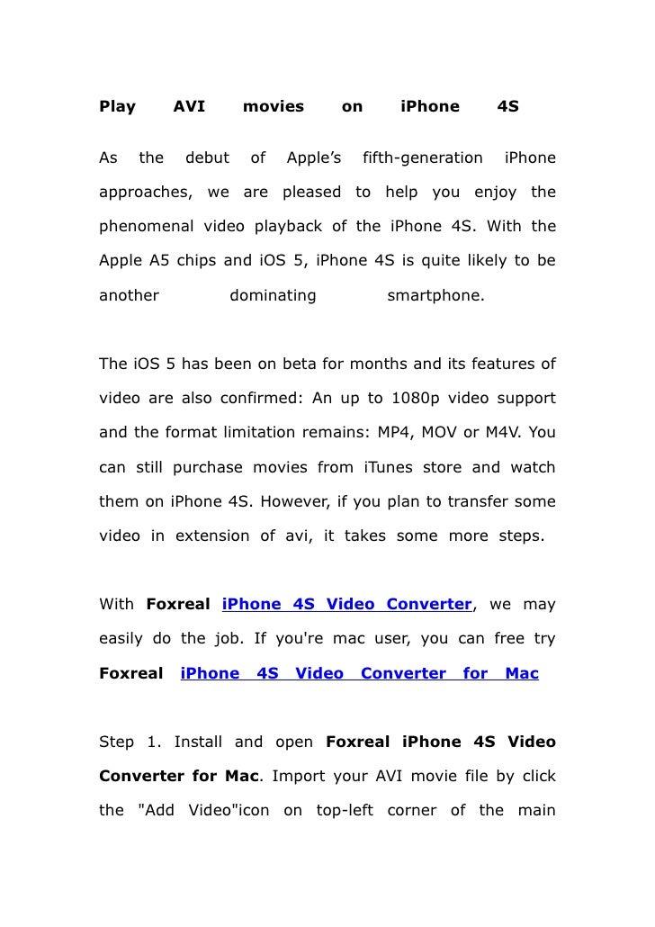 Play avi movies on i phone 4s