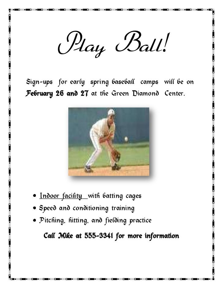 Play Ball!<br />Sign-ups  for early  spring baseball  camps  will be on February 26 and 27 at the Green Diamond  Center.<b...