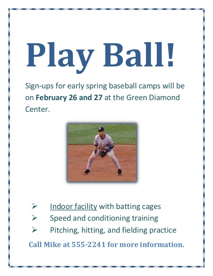 Play Ball!<br />15716251602740Sign-ups for early spring baseball camps will be on February 26 and 27 at the Green Diamond ...