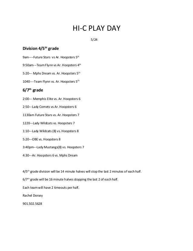 HI-C PLAY DAY 5/24 Division 4/5th grade 9am----Future Stars vs Ar. Hoopsters 5th 9:50am---Team Flynn vs Ar. Hoopsters 4th ...