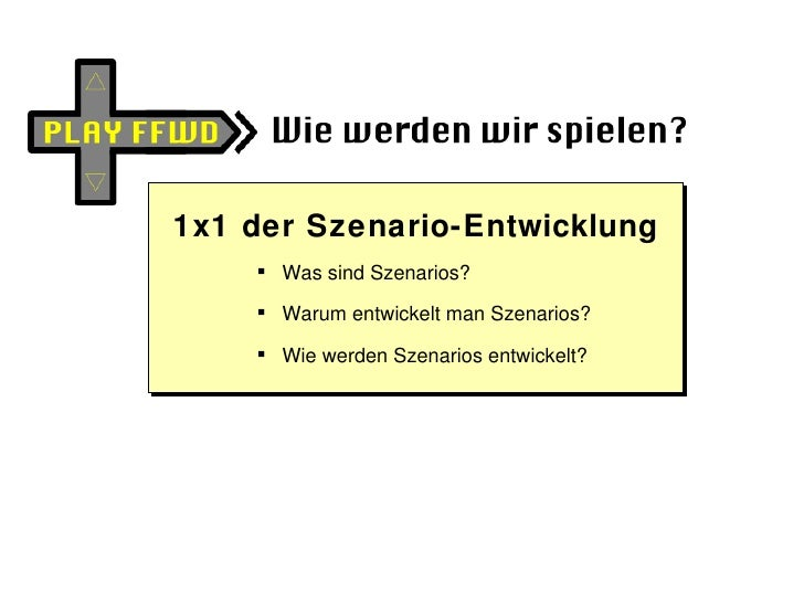 <ul><li>1x1 der Szenario-Entwicklung </li></ul><ul><ul><li>Was sind Szenarios? </li></ul></ul><ul><ul><li>Warum entwickelt...