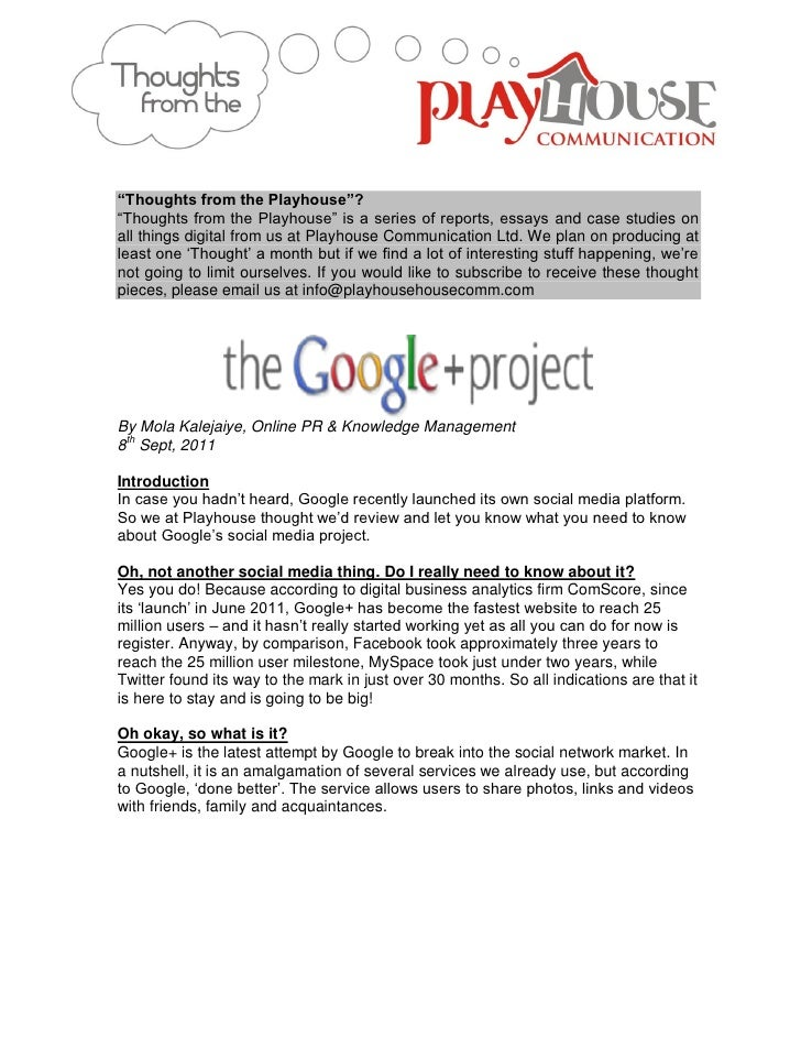 Playhouse thoughts - Introducing Google+