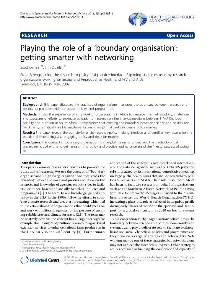 Playing the role of a boundary organisation getting smarter with networking