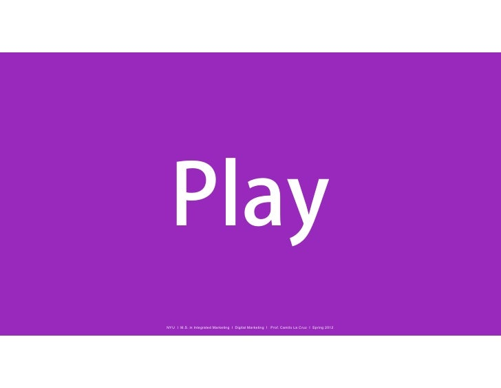 PlayNYU I M.S. in Integrated Marketing I Digital Marketing I Prof. Camilo La Cruz I Spring 2012