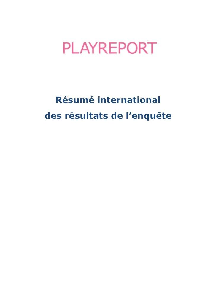 Résumé internationaldes résultats de l'enquête