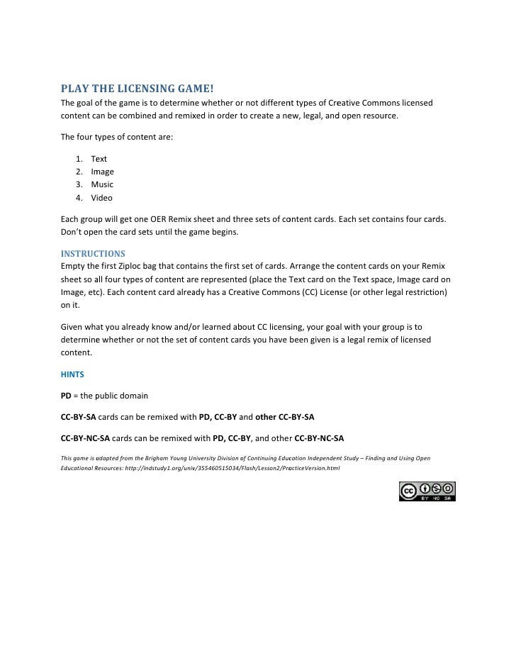 Licensing game instructions for groups
