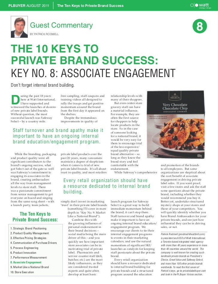 PLBUYER AUGUST 2011                    The Ten Keys to Private Brand Success                Guest Commentary              ...