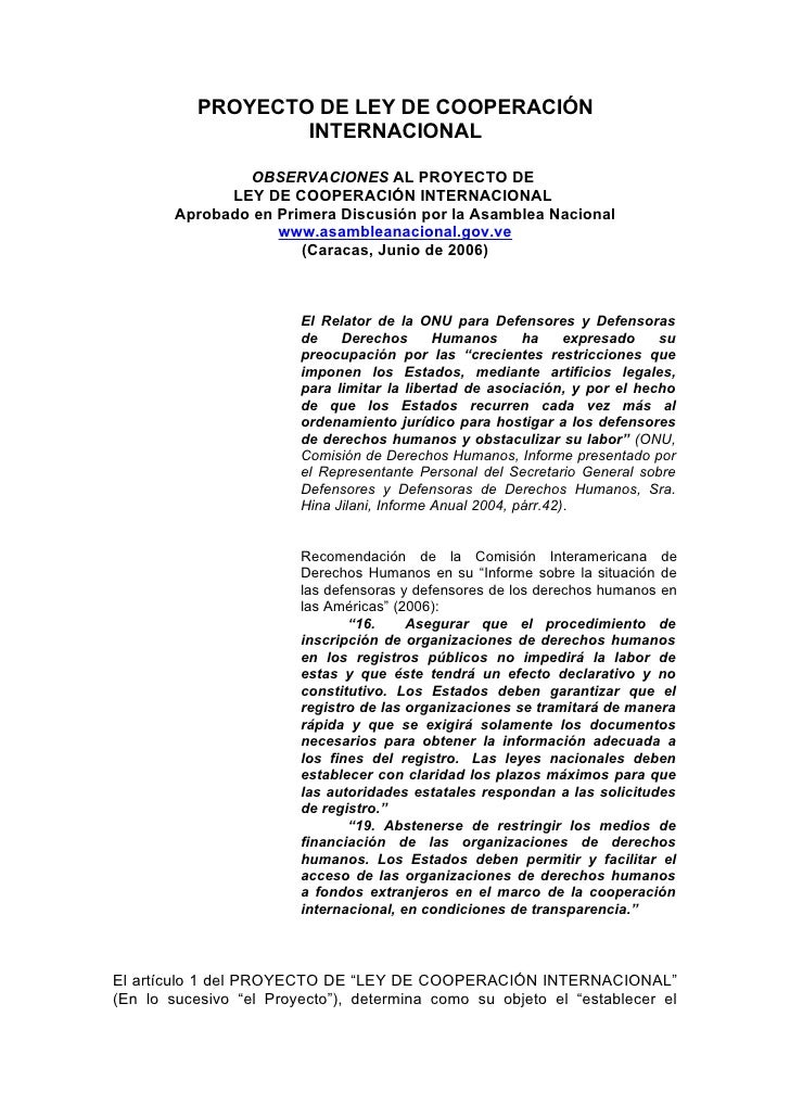 PROYECTO DE LEY DE COOPERACIÓN                    INTERNACIONAL                  OBSERVACIONES AL PROYECTO DE             ...