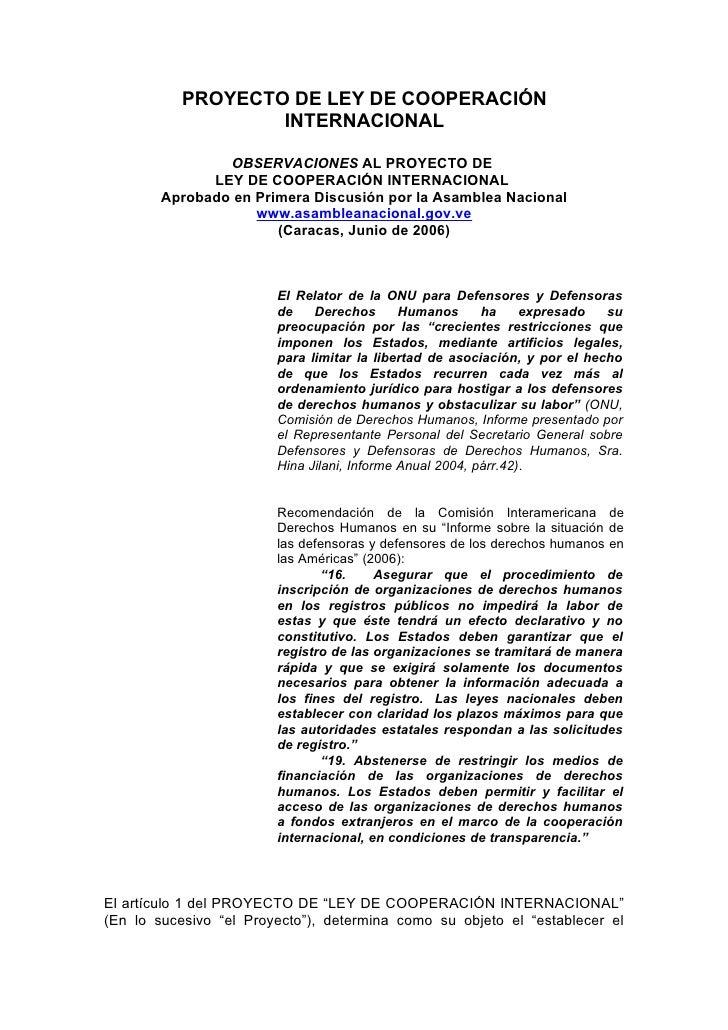 Öbservaciones al Proyecto de Ley de Cooperación Internacional