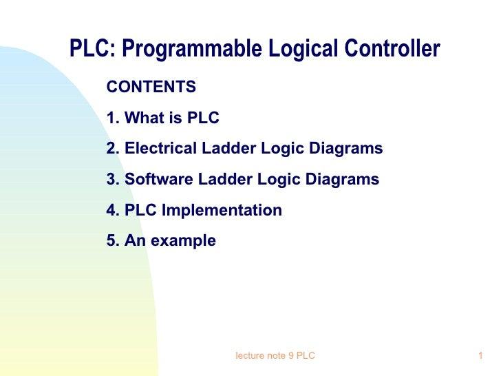 PLC: Programmable Logical Controller <ul><li>CONTENTS </li></ul><ul><li>1. What is PLC </li></ul><ul><li>2. Electrical Lad...