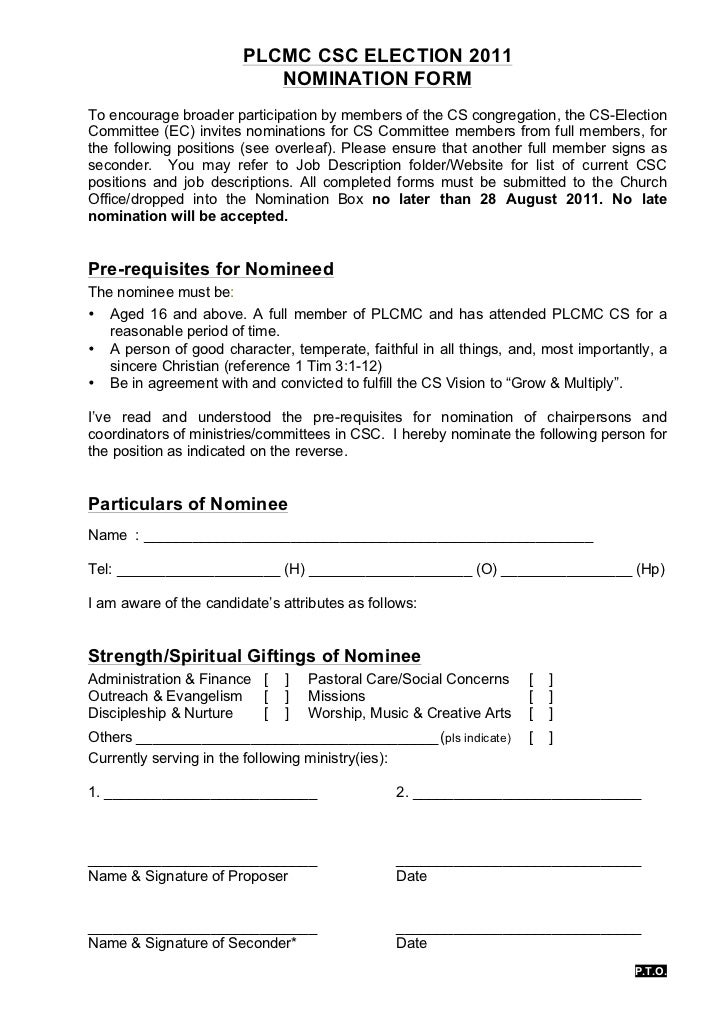PLCMC CSC ELECTION 2011                           NOMINATION FORMTo encourage broader participation by members of the CS c...