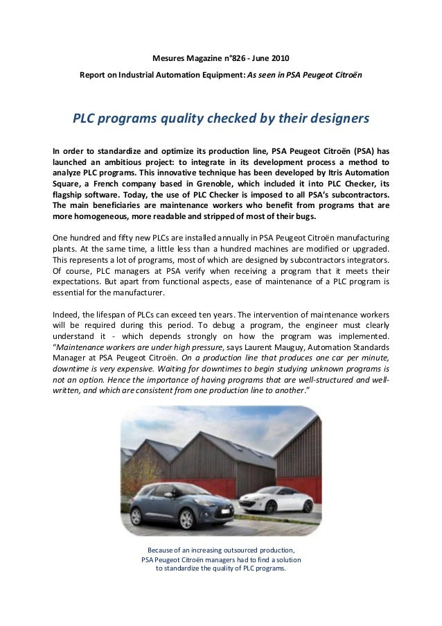 Mesures Magazine n°826 - June 2010       Report on Industrial Automation Equipment: As seen in PSA Peugeot Citroën     PLC...