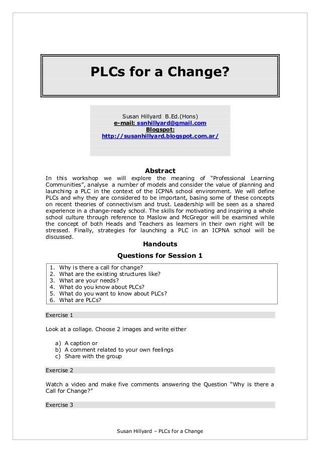 Susan Hillyard – PLCs for a Change PLCs for a Change? Susan Hillyard B.Ed.(Hons) e-mail: ssnhillyard@gmail.com Blogspot: h...