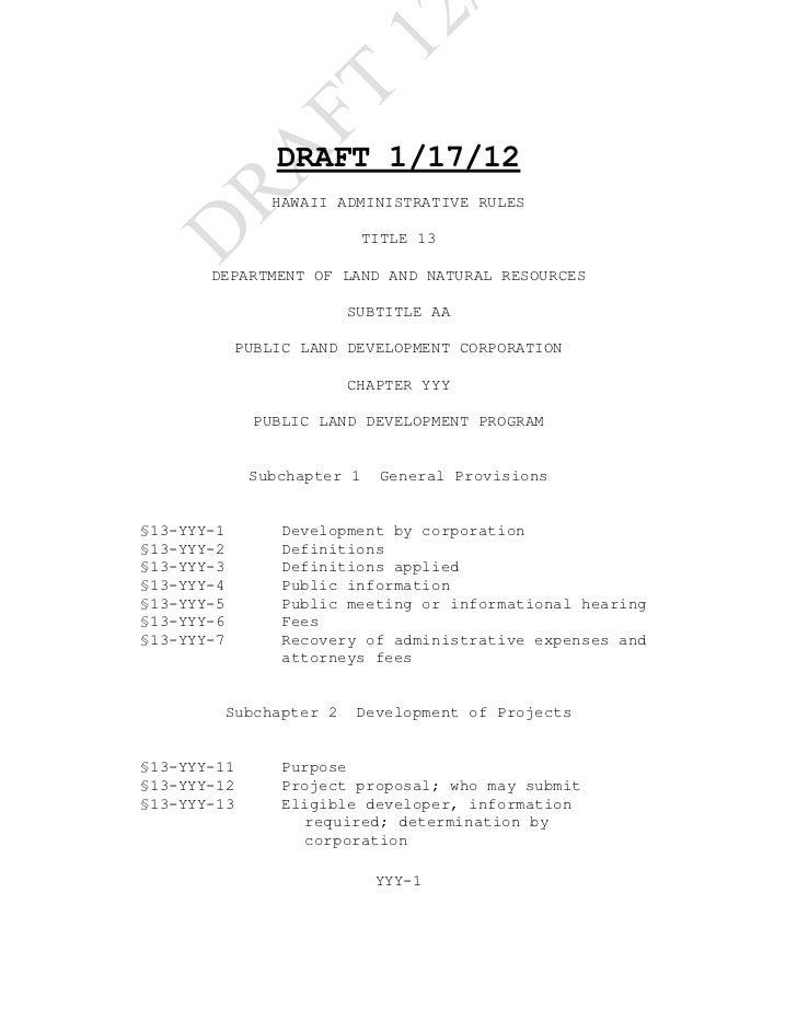 12               FT                DRAFT 1/17/12    RA                HAWAII ADMINISTRATIVE RULESD                        ...