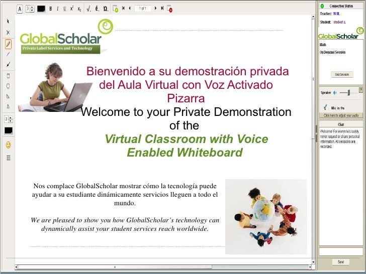 Bienvenido a su demostración privada del Aula Virtual con Voz Activado Pizarra Welcome to your Private Demonstration of th...