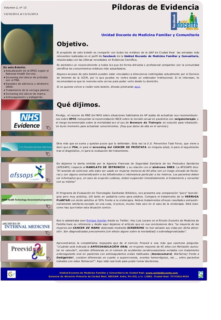 Píldoras de Evidencia 13 UDFI MFyC Ciudad Real