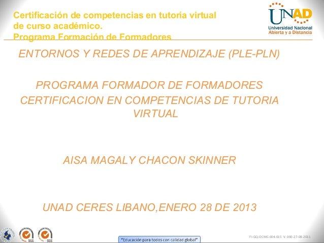 Certificación de competencias en tutoría virtualde curso académico.Programa Formación de Formadores ENTORNOS Y REDES DE AP...