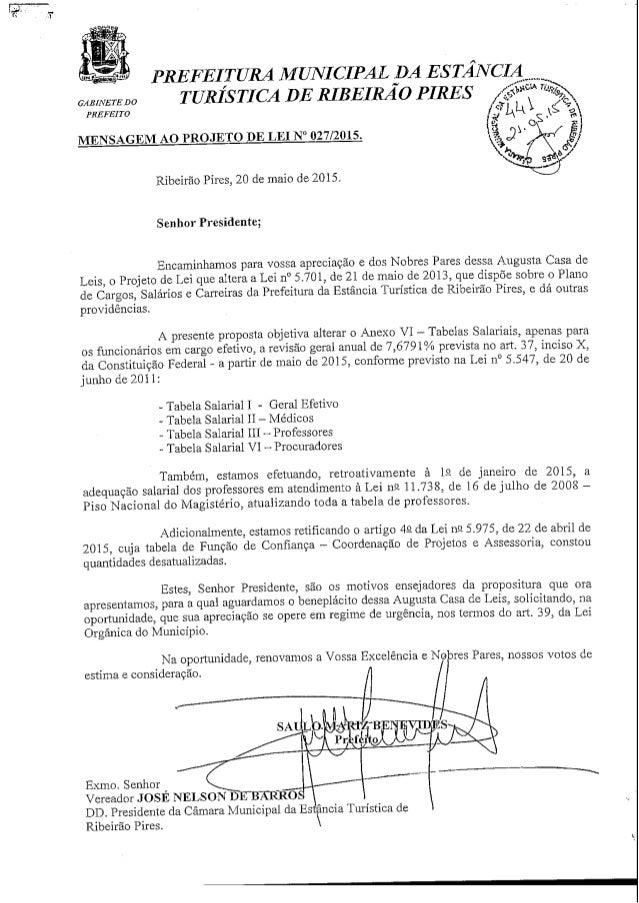 PREFEITURA MUNICIPAL DA ESTANCIA GAVNETECO TURÍSTICA DE RIBEIRÃO PIRES / ^ -' .s PREFEITO MENSAGEM AO PROJETO DE LEI N° 02...