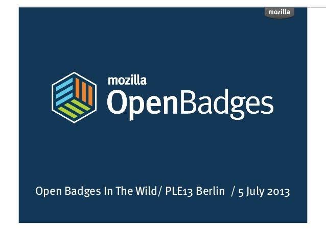 Open Badges In The Wild/ PLE13 Berlin / 5 July 2013