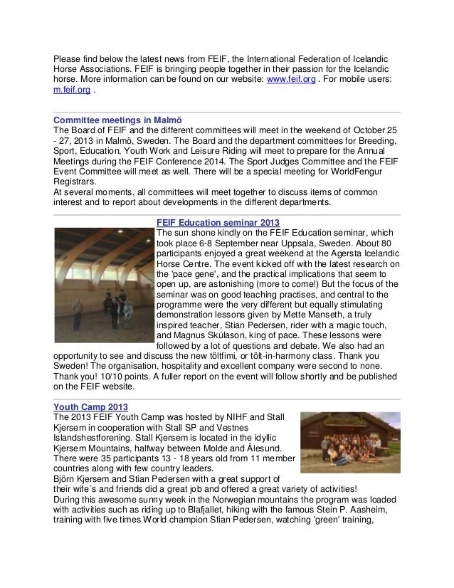 Please find below the latest news from FEIF, the International Federation of Icelandic Horse Associations. FEIF is bringin...
