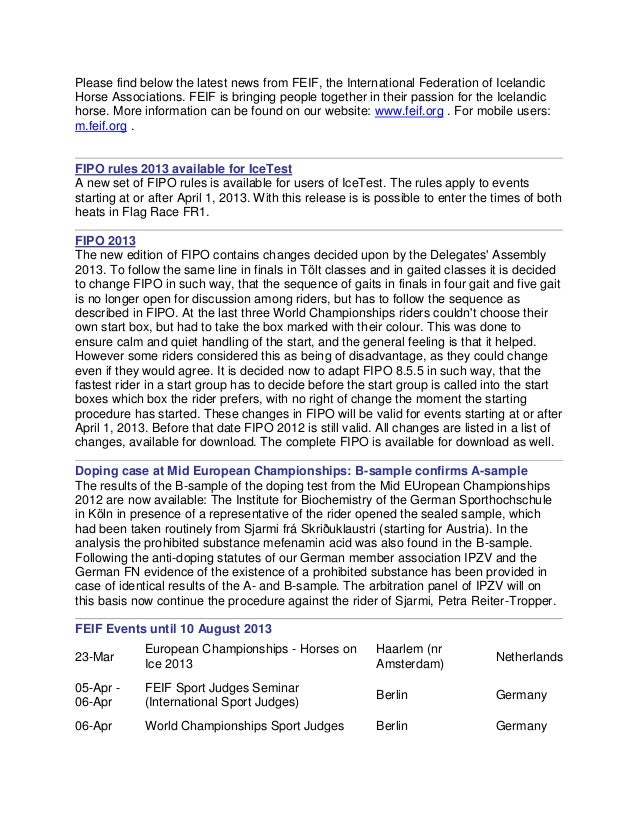 Please find below the latest news from fei3