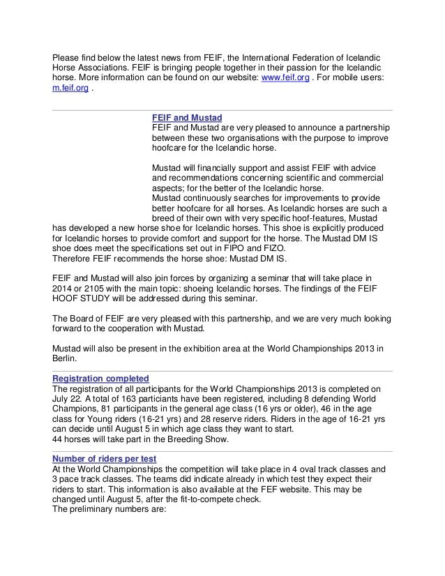 Please find below the latest news from feif july 29 2013