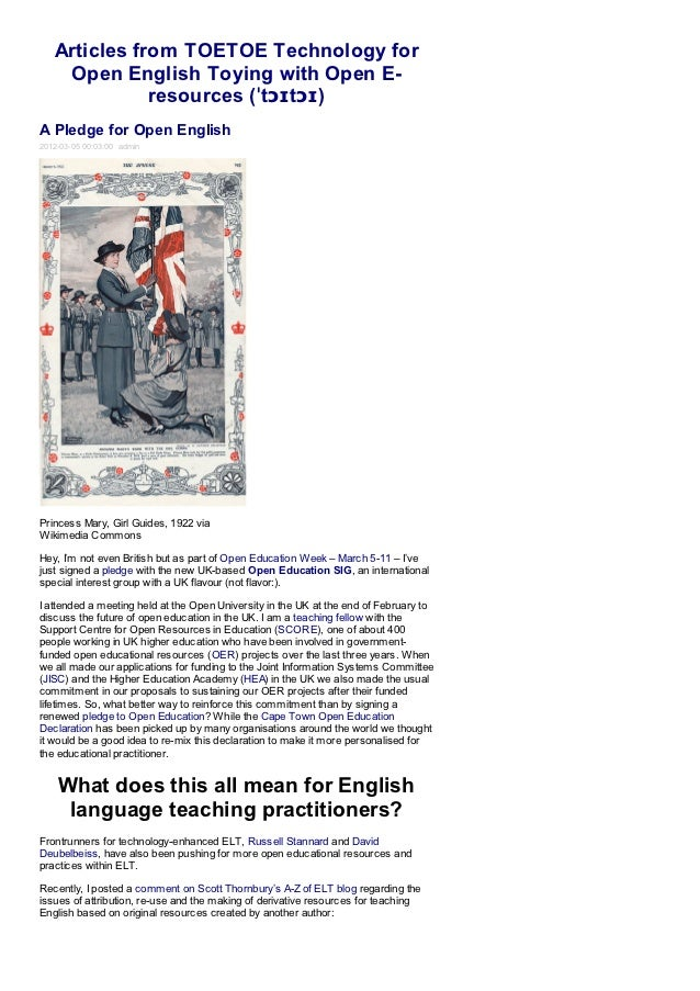 Articles from TOETOE Technology for    Open English Toying with Open E-              resources (ˈtɔɪtɔɪ)A Pledge for Open ...