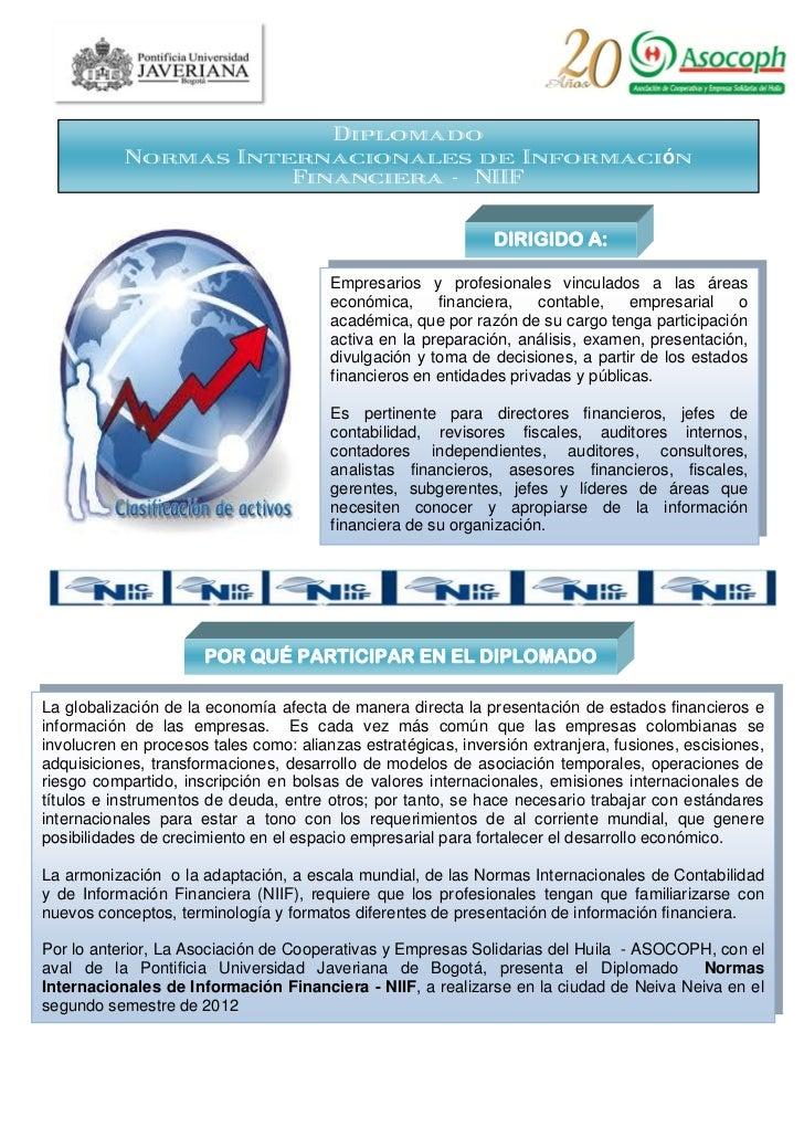 Diplomado           Normas Internacionales de Información                      Financiera - NIIF                          ...