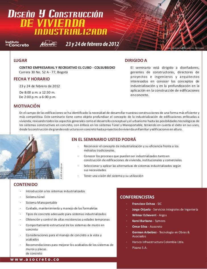 Seminario Diseño y Construcción de Vivienda Industrializada