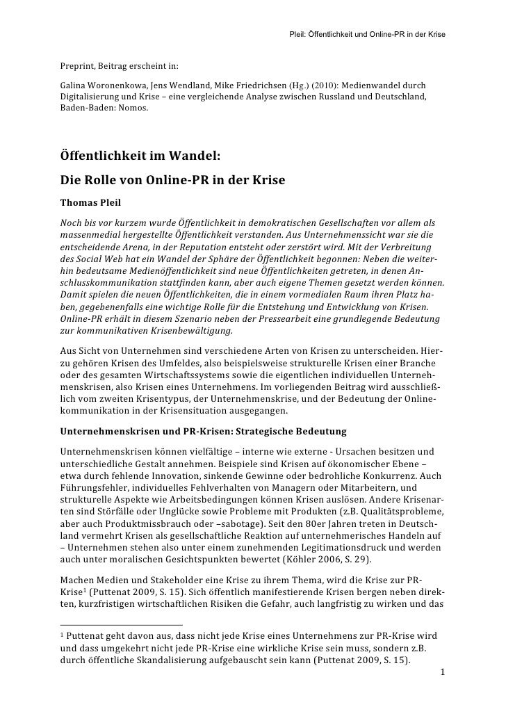 Pleil: Öffentlichkeit und Online-PR in der Krise    Preprint,Beitragerscheintin:  GalinaWoronenkowa,JensWendland,M...