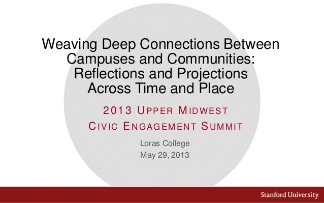 WEAVING DEEP CONNECTIONS BETWEEN CAMPUSES AND COMMUNITIES: REFLECTIONS AND PROJECTIONS ACROSS TIME AND PLACE