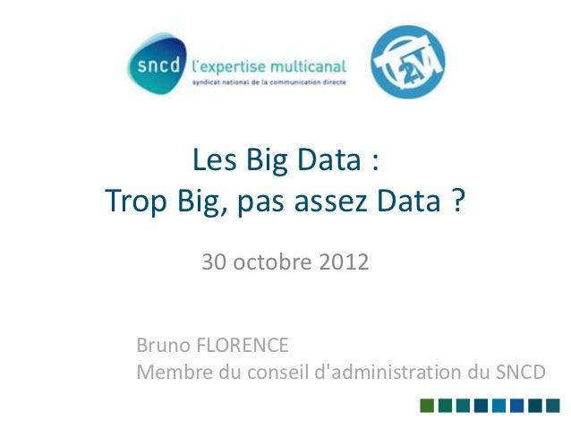 Les Big Data :Trop Big, pas assez Data ?        30 octobre 2012  Bruno FLORENCE  Membre du conseil dadministration du SNCD