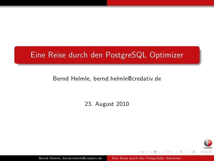 Eine Reise durch den PostgreSQL Optimizer
